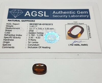 3.60ct Zaffiro naturale CERTIFICATO AGSL oval cut vvs orange VERIFY ONLINE HEAT