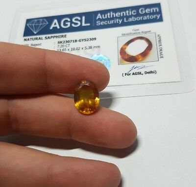7.20ct Zaffiro naturale CERTIFICATO AGSL oval cut vvs orange VERIFY ONLINE HEAT