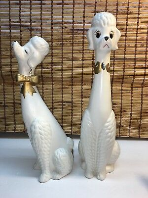 """Ventage Napco Signed White Poodles Him And Her 13"""" & 12"""" Earrings Jeweled"""