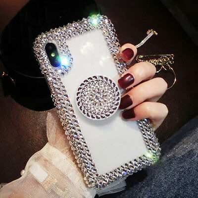 Bling Diamond Rhinestone Crystal Holder Case Cover for iPhone XS Max XR 7 8 Plus