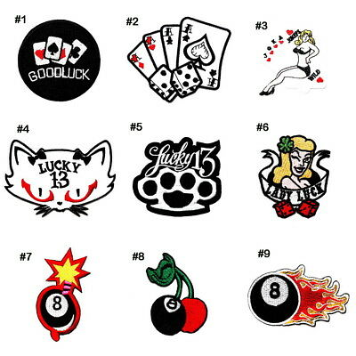 Casino Lucky 13 Poker card 8 Ball Tattoo Style DIY Clothes Jacket Iron on patch