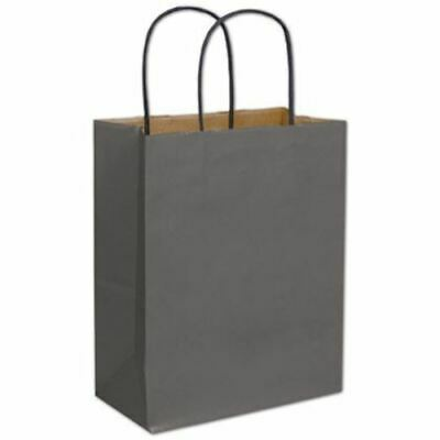 """250 Storm Gray Color-on-Kraft Paper Bags Shoppers 8 1/4 x 4 1/4 x 10 3/4"""""""
