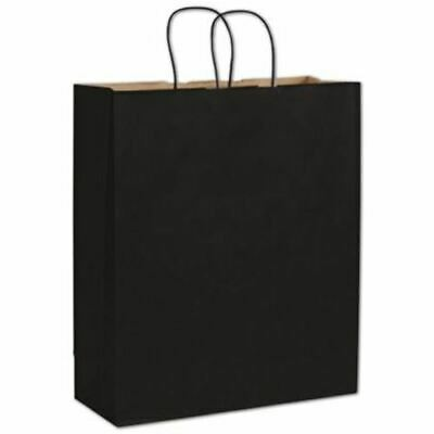 200 Black Color on Kraft Queen Shoppers Paper Bags Gift Merchandise 16 x 6 x 19""