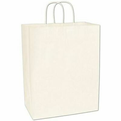 250 Recycled White Kraft Gift Merchandise Paper Bags Shoppers Escort 13 x 7 x 17