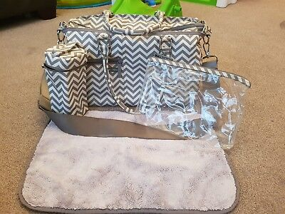 Melobaby Melotote Baby Changing Bag Grey Chevron. Bottle bag, changing mat.
