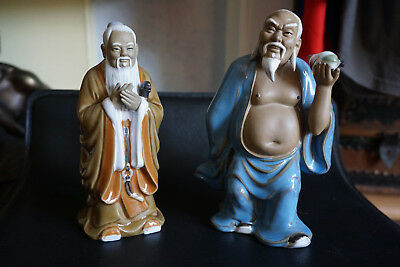 Two Chinese Mudmen, Confucius and immortal Chung Li Kuan