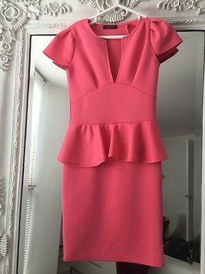 Coral Peplum Dress Size 8/10 New Without Tags