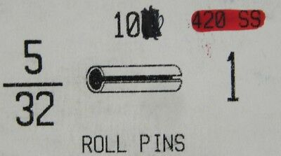 """NEW! (10 Pcs) 420 S.S. Slotted Roll Spring Pin 5/32 X 1"""" long STAINLESS NH"""