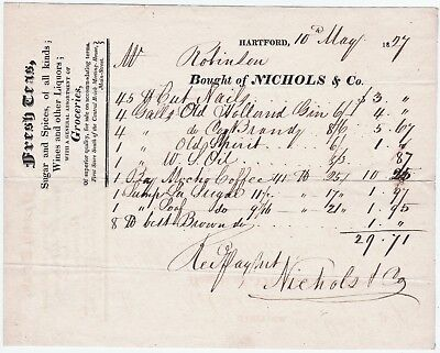 EARLY Advertising Billhead 1827 Nichols - Hartford CT Tea Wine Liquor etc Store