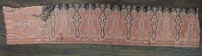 "Antique Old Wool Paisley Shawl Border Fabric c1860 L 61"" x W 12"""