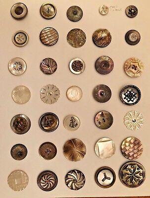 "VINTAGE ANTIQUE ENGRAVED MOTHER OF PEARL BUTTONS LOT of 35,7/16""-1 7/16"" MOP"