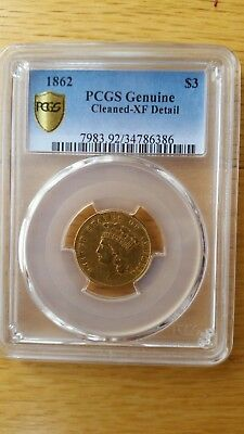 1862 Civil War Gold $3 - Certified PCGS XF Details - Rare Date!