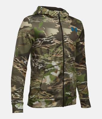 more photos ae6e9 47ff4 New Boy s Under Armour Forest Camo Full Zip Hunting Hoodie Jacket UA Large