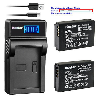 Kastar Battery LCD USB Charger for Canon LP-E12 LC-E12 & Canon EOS M100 Camera