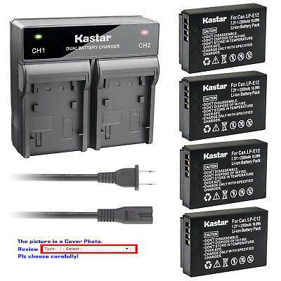 Kastar Battery AC Rapid Charger for Canon LP-E12 LC-E12 & Canon EOS M100 Camera