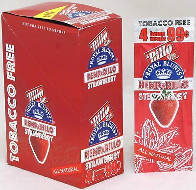 Hemparillo Strawberry Hemp Wraps Natural Rolling Papers 15 Packs Box 60 Wraps