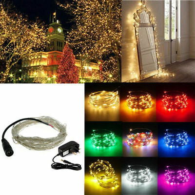 Electric UK Plug In Silver Copper Micro Wire 100 LED String Fairy Lights Party