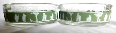 (1) Pair Old Rare Vintage Ashtray Clear Glass with Green Frosted Roman Accent
