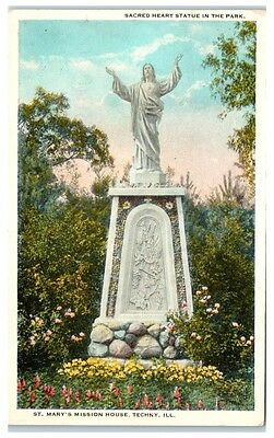 Early 1900s Sacred Heart Statue, St. Mary's Mission House, Techny, IL Postcard