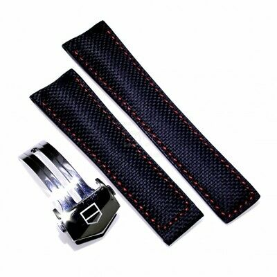 217cd02c6 Tag Heuer Watch strap Carrera Skin FC6256 FDA Black carbon fiber measures  22/0