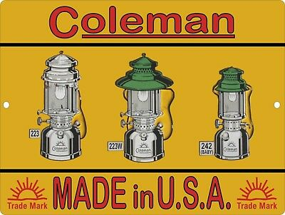 Vintage Retro Reproduction COLEMAN Lamps & Lantern Quick-Lite Metal Sign 9x12 #2