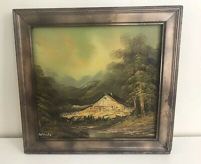 "Vintage Oil Canvas Landscape Mountain Painting Signed ANTONIO 20""x16"" Framed"