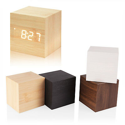 Wood Cube LED Alarm Voice Control Digital Desk Bedside Clock Wooden Temperature