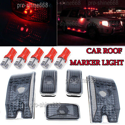 5x Red+5 Amber Top Clearance Cab Marker Light 5730 T10 LED Bulb for 03-09 Hummer