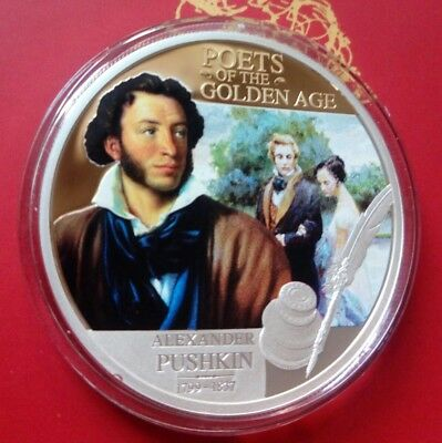 Alexander Pushkin 1 Oz Silver Proof Coin 2012 Niue $2 Poets of the Golden Age