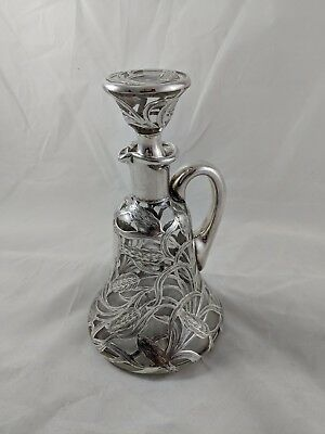 Alvin 999 Silver Overlay Glass Whiskey Decanter,  Wheat Design