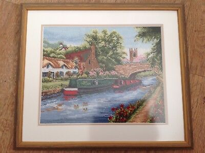 """FRAMED TAPESTRY 'CANAL' SCENE with BOAT, CHURCH, BRIDGE, COTTAGE etc 16""""x 14"""""""