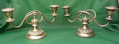 Pair Vintage Quality Flame Candelabra Display Wedding Lunch Dinner Table