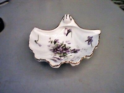 Vtg Hammersley Victorian Violets Bone China Shell Trinket Footed Dish-England