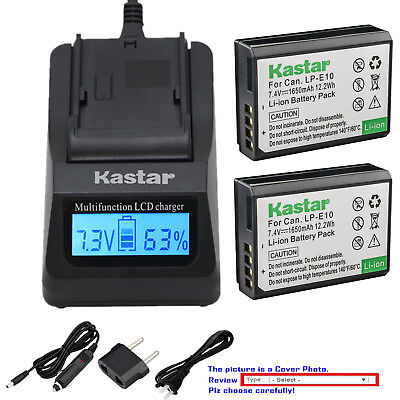 Kastar Battery LCD Fast Charger for Canon LP-E10 LCE10 Canon EOS Rebel T5 Camera