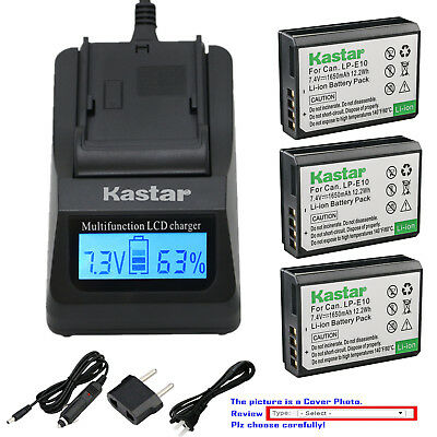 Kastar Battery LCD Fast Charger for Canon LP-E10 LCE10 Canon EOS Rebel T6 Camera