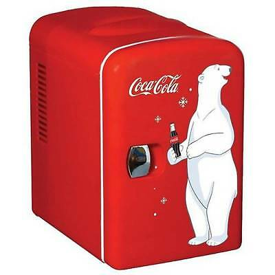 Coca-Cola Portable Personal 6 Can Mini Fridge with Warming, Red 4 L capacity NEW