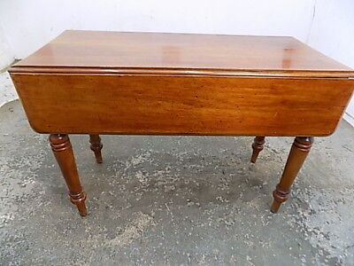 antique,victorian,small,mahogany,drop leaf,rectangular,dining table,turned legs