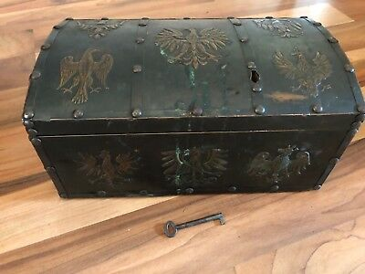 Fabulous European Copper Chest Covered With Heraldic Eagles