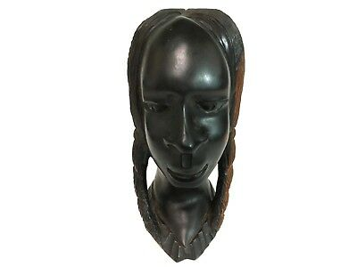 African Woman Face Bust Wooden Hand Carved Tribal Dark wood Art Sculpture
