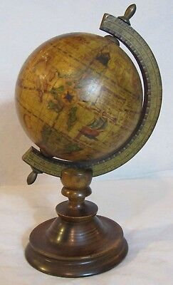 """8"""" Tall Vintage Made In Italy Olde World MAP Rotating Globe Wood"""