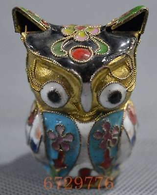 Collectable Handwork Decor Old Cloisonne Carve Lovely Flower owl Lucky Statue