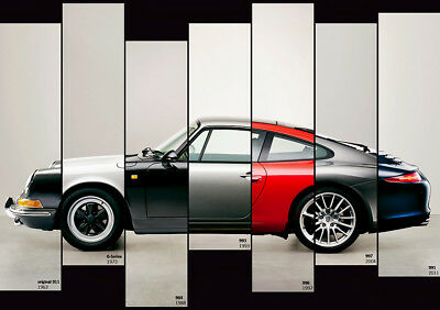 "The Evolution Of The Porsche 911 Poster 32x48"" 24x36"" Sports Car Print"