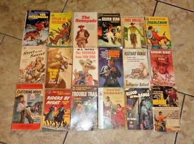 Western Novels Vintage MC  Lot of  15 Assorted Authors and Titles