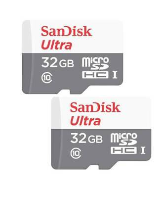 2 x Sandisk 32GB Ultra Micro SD SDHC TF Memory Card 100MBs UHSI Class 10