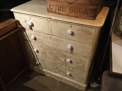 Painted pine 19th century heal and son chest of drawers
