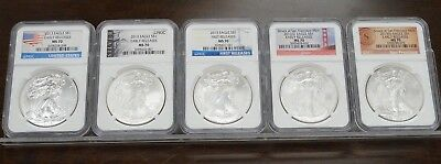 Lot Of (5) 2013 Silver Eagle $1 Ngc Ms70  - First & Early Release