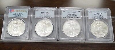 Lot Of (4) 2011 Silver Eagle Pcgs Ms70 2Nd Quality Dollars - 25Th Ann. Set