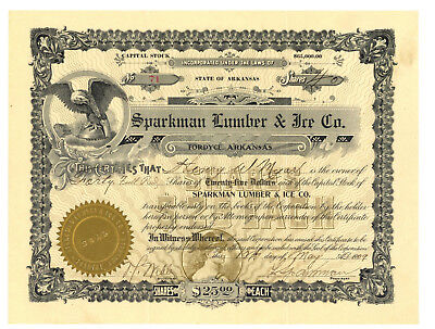 Sparkman Lumber & Ice Co. Stock Certificate Fordyce, Arkansas 1909