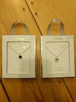 Disney Mickey Necklace Silver February August Amethyst Peridot stocking filler