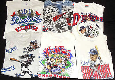 Lot of 6 LA Dodgers T Shirts Los Angeles World Series 80s Vintage Rock Tees RARE